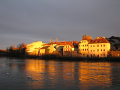 Steyr - Upper Austria (Been Around) Tags: sunset sun river austria evening march sterreich spring europa europe niceshot travellers eu schwan sr obersterreich mrz springtime autriche austrian 2010 frhling aut steyr abendsonne huser schwne o  upperaustria 5photosaday a onlyyourbestshots hauteautriche concordians thisphotorocks worldtrekker ennsriver ortskai ennsdorf visipix expressyourselfaward flickrunitedaward bauimage dieenns