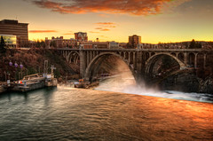 Monroe St Bridge Sunset (NikonDigifan) Tags: washington nikon spokane nik hdr d300 photomatix monroestbridge colorefexpro viveza hdraddicted mikegassphotography