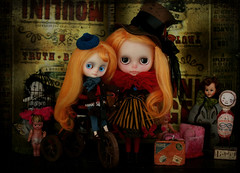 A Bohemian Storm is brewing (Ragazza*) Tags: carnival tricycle mohair blythe moulinrouge airbrush steampunk middie customdolls petitewanderlings polazakimibulletgirldoll atomicblythetophat lapierlehandmadedress