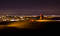 while the city was sleeping....... (nikkiluvssf) Tags: sanfrancisco longexposure fog goldengatebridge citylights marinheadlands cityskyline citybythebay hawkhill goldengateway perfectsunsetssunrisesandskys