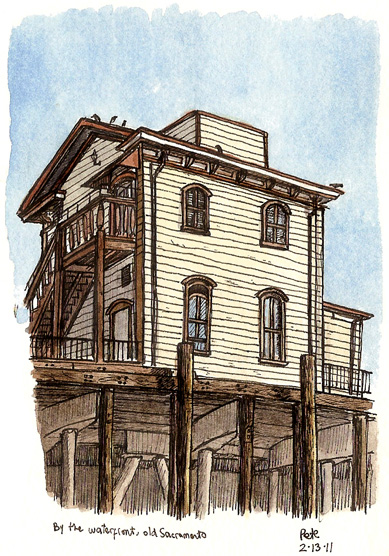 waterfront building, old Sacramento