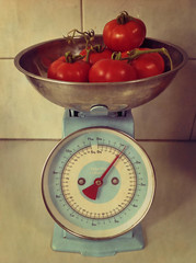 Home Grown! (syam C) Tags: old blue red texture vintage reflections antique tomatoes scales layers aged soe homegrown iphone photoshopelements vintagevalentine coffeeshopaction atticvintage