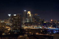 Minneapolis Skyline At Night (JohnPilla) Tags: city bridge sky minnesota skyline night skyscraper photoshop canon buildings campus photography rebel xt lights university w cities minneapolis twin clear nightlife northeast mn fargo hdr guthrie center goldmedalflour night capella bridge tower photomatix downtown life cities university twin 35 minnesota wells downtown skyline fargo minneapolis minneapolis capella