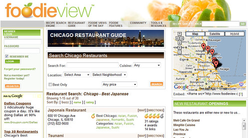 How FoodieView's page should appear