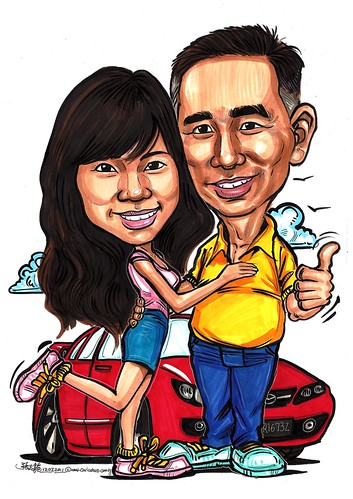 Couple caricatures with Mazda