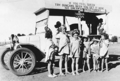 "Frank (Sonny) Duncan's travelling cafe. His catchcry at Cobar Football games was ""Try our home made pies - warm your belly for threepence"" - Cobar, NSW, c. 1935, by Mrs Les Condon"