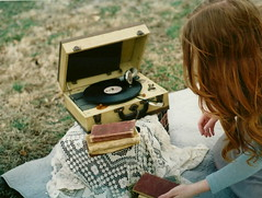 (kait dowling) Tags: red girl grass vintage hair outside picnic player record dowling kait