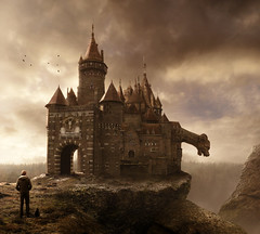 the gatehouse (Mattijn) Tags: castle rock cat gate surreal gargoyle photomontage pino mattijn magicrealism