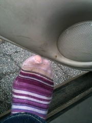 Cute new socks--with a hole! :( yeah, they're getting returned