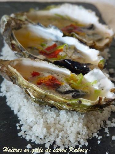 huîtres en gelée de citron kabosu