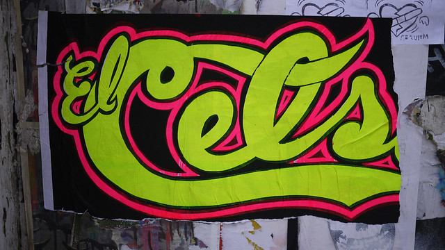 El Cels in Neon Green & Pink on Mercer St #walkingtoworktoday