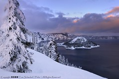 Crater Lake Colors (pdxsafariguy) Tags: park winter sunset lake snow cold tree ice clouds oregon island frozen nationalpark caldera cascades craterlake rim wizardisland tomschwabel