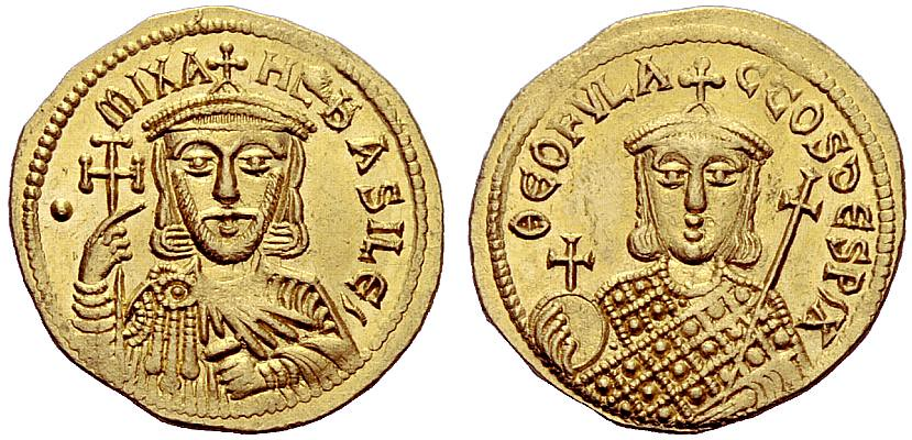 An Excessively Rare Byzantine Gold Solidus of Michael I Rhangabe (811-813 C.E.) with His Son, Teophilactus, the Finest Known