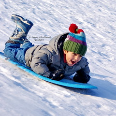 Snow Sledding (Assma Alsalloomi) Tags: snow kids sledding