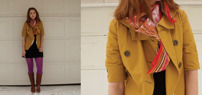 magenta mustard jacket brooklyn industries banana republic tights boots scarf vintage red floral