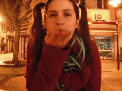 Fffffffff (cristinavsilva) Tags: street girl night doll little dressup blow confetti carnaval schoolgirl braga