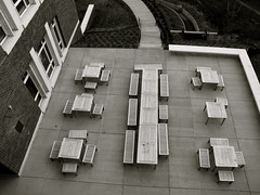Empty Spaces (K.G.Hawes) Tags: blackandwhite bw empty creative commons cc creativecommons tables universityofvirginia uva birdseye pinic