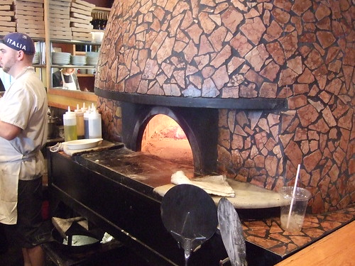 Wood-fired pizza oven at Dough in San Antonio