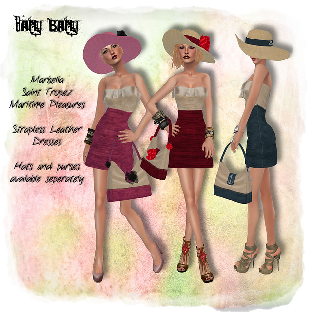 Bang Bang - Maritime strapless leather dresses