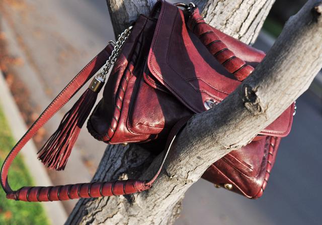 cynthia rowley leather burgundy bag with tassel in a tree, DSC_0226