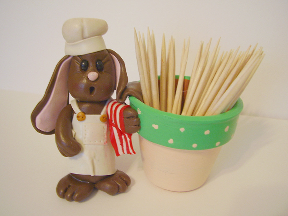 Chef Bunny Toothpick Holder