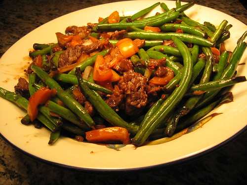 szechuan beef and green beans 015