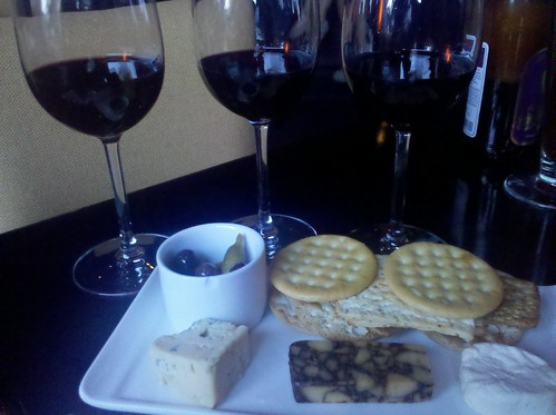 Red flight with artisian cheeses
