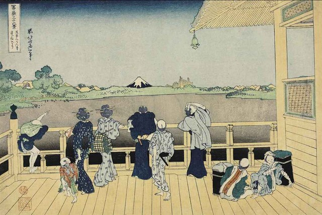 Katsushika Hokusai - Gohyaku Rakanji Sazaido (Sazai Hall of the Five-hundred Rakan Temple) Ukiyo-e Print