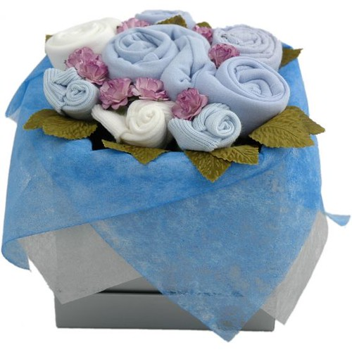 Baby Boy Clothes Bouquet Box www.naomisbabybakery.co.uk