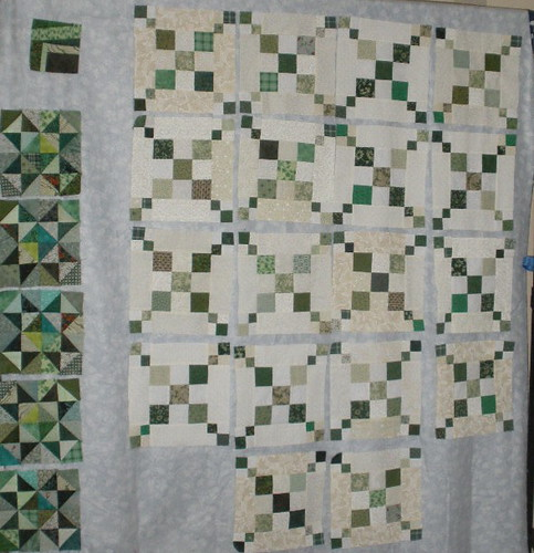 Green Blocks on my Design Wall
