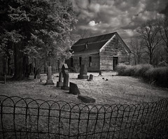 Looney Creek Church (Rodney Harvey) Tags: blackandwhite bw abandoned church cemetery rural geotagged ir quiet decay creepy spooky infrared countrychurch explored