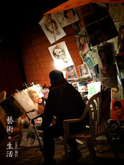 Street Artist ( Art . Life) (Chez C - nice to be back :)) Tags: life street pen hongkong asia artist streetshots olympus story f3556 1442mm epl2