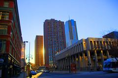 Sunset Towers (splinx1) Tags: blue light sky sun color art composition colorado pentax denver photomatixpro executivetower contrejoure brookstower pentaxk10d thecurtis smcpda1855mmf3556al fourseasonshotelandresidence