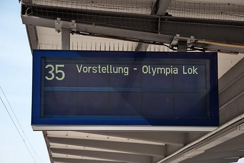 Zielanzeiger zur Vorstellung der Olympia-Lok