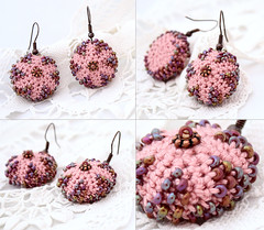 Pink starfish earrings decorated with lilac beads (Julia Kolbaskina) Tags: pink flower beads starfish handmade crochet jewelry jewellery lilac earrings crocheted