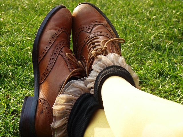 mustard tights ankle socks