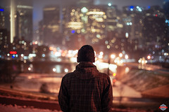 Early Winter (Rob Moses) Tags: calgary alberta canada yyc city urban metro downtown skyline sky buildings architecture citylife modern beautiful pretty uptown condos night lights apartments windows skyscrapers skyscraper nightlife explore bigcity innercity river bowriver bridge prime longexposure sony a850 minolta 50mm 14prime photography photographer selfportrait selfie winter snow fog foggy bokeh blur lensblur explorer tlingit