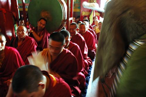 Dagmo Lhanze Youdhen Sakya, mother of 2 Sakya tulkus, in an olive green chuba, silk blouse, shawl, distinctively striped traditional apron, gifts and katags to lamas, Sakya Lamdre, green drum, Tharlam Monastery, Boudha, Kathmandu, Nepal by Wonderlane