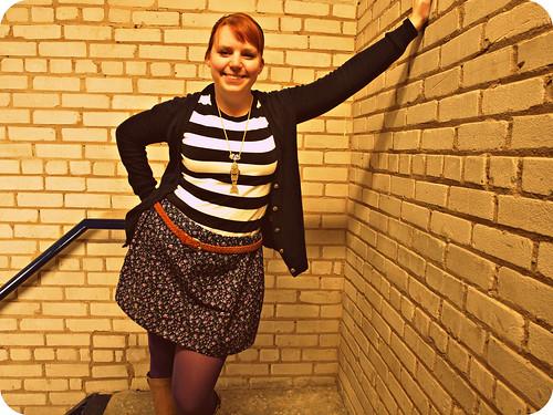 striped shirt flower skirt