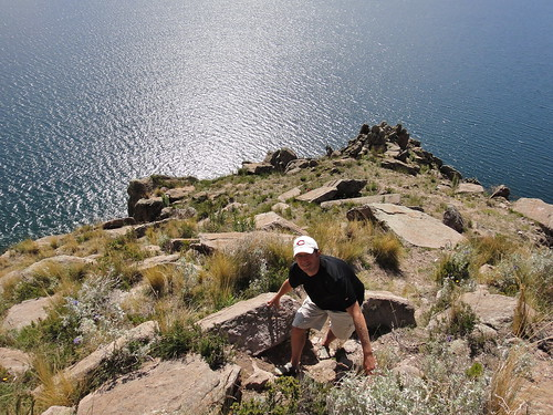 Dusty Climbing in Copacabana at Lake Titicaca in Bolivia