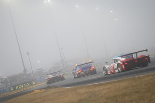 A dense fog at Daytona International Speedway
