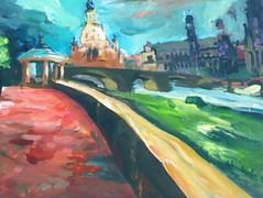 Dresden Frauenkirche (OliverHeubeck) Tags: dresden acryl gemälde stadtlandschaft acrylgemälde