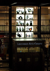 Lawrence Arts Center Paper Cutting Lightbox Installation (ruralpearl) Tags: window birds cat lawrence wine bottles display installation kansas cutpaper teacups pantry shelves whimsical papercuttings lawrenceartscenter ruralpearl angiepickman