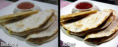 Before and after photos of my quesadillas - blankpixels.com