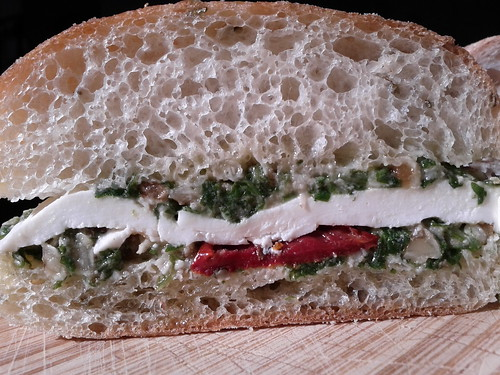 Buffalo mozzarella, sundried tomatoes, walnut pesto on rosemary foccacia from Choice Greene