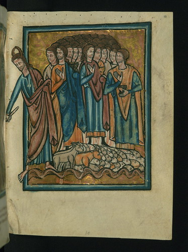 Illuminated Manuscript, Bible Pictures by William de Brailes, The Crossing of the Red Sea, Walters Art Museum Ms. W.106, fol. 10r by Walters Art Museum Illuminated Manuscripts