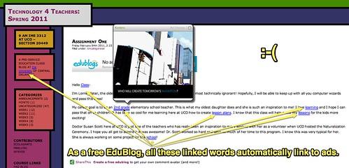 Auto-linked Word Ads on EduBlogs
