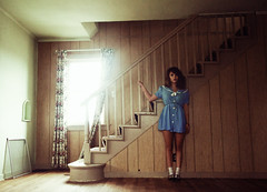 (yyellowbird) Tags: house selfportrait abandoned girl stairs illinois lolita cari rockford