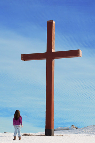 Audrey at the cross (color)