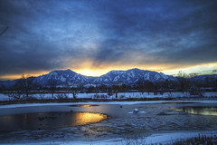 Frosted Flatirons (Zach Dischner) Tags: winter sunset snow mountains cold reflection ice canon landscape eos frozen colorado freezing boulder 7d hdr flatirons frosted tamron1750 canon7d